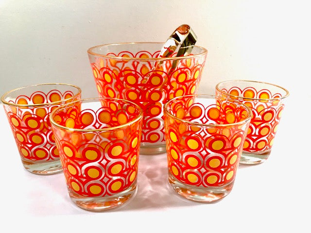 Colony Frolic Groovy Retro Orange & Yellow Circle 6-Piece Bar Set