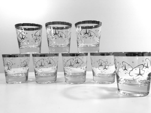Mid-Century Silver Atomic Star Whiskey/Double Shot Glasses (Set of 8)