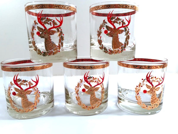 Culver Signed Mid-Century Rudolph The Red Nose Reindeer Old Fashion Glasses - Rare (Set of 5)