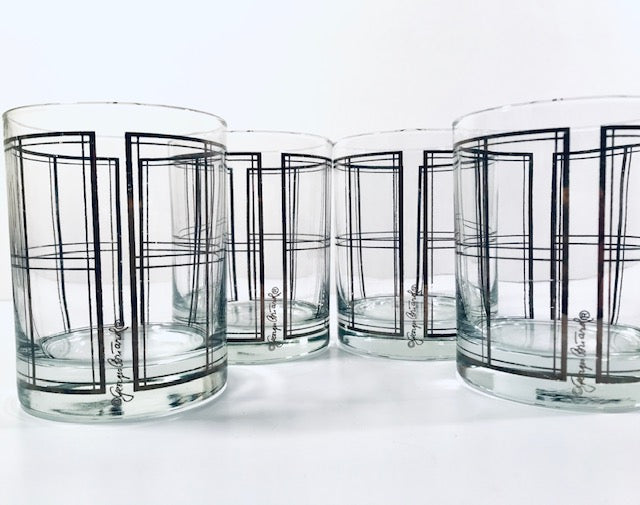 Georges Briard Signed Mid-Century Platinum Plaid Double Old Fashion Glasses (Set of 4)
