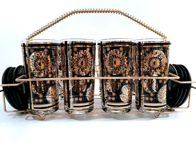 Fred Press Signed Mid-Century Black and 22-Karat Gold Abstract 17-Piece Bar Set