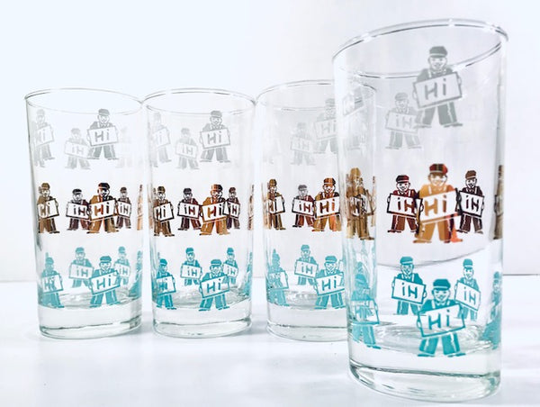 Retro Service Station Attendant - HI Glasses (Set of 4)