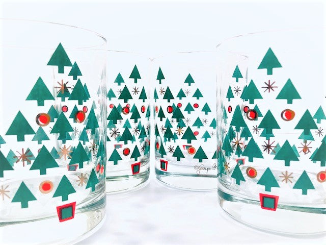 Georges Briard Signed Mid-Century Christmas Tree Double Old Fashion Glasses (Set of 4)