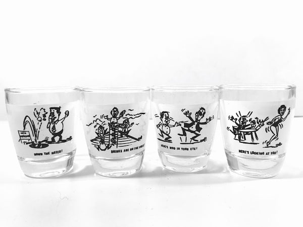 Anchor Hocking Vintage Humorous Shot Glass Set (Set of 4)