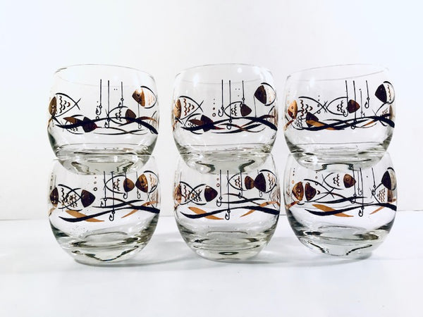 Mid-Century Here Fishy Fishy Roly Poly Glasses (Set of 6)