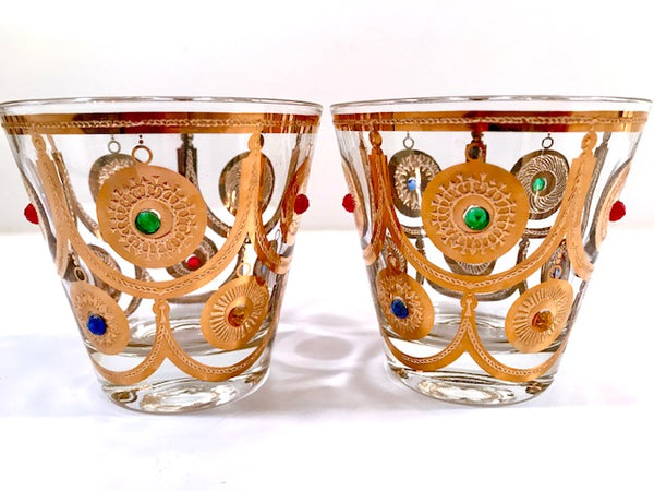 Culver Signed Mid-Century Christmas Ornament Old Fashion Glasses (Set of 2)