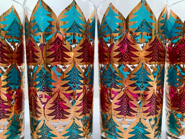 Culver Signed Mid-Century Jewel Toned Christmas Tree Highball Glasses (Set of 4)