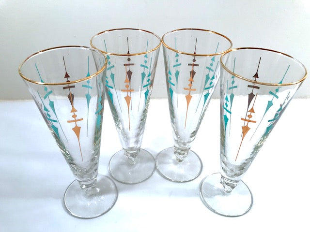 Libbey Mid-Century Compass Pilsner Glasses (Set of 4)