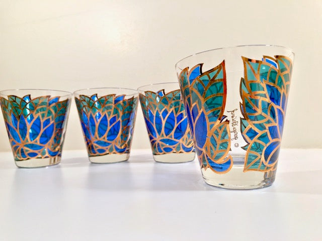 Georges Briard Signed Mid-Century Abstract Mosaic Double Old Fashion Glasses (Set of 4)