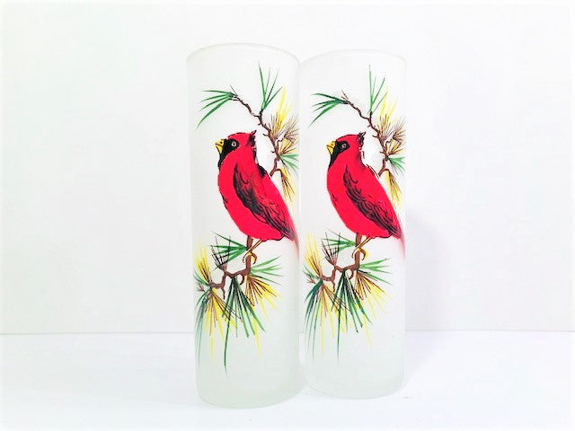 Gay Fad Mid-Century Red Cardinal Tall Collins Glasses (Set of 2)
