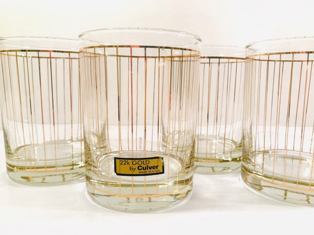 Culver Signed Mid-Century 22-Karat Gold Striped Double Old Fashion Glasses (Set of 4)