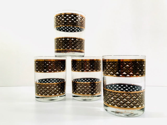 Georges Briard Signed Mid-Century Gold and Black Weave Double Old Fashion Glasses (Set of 4)