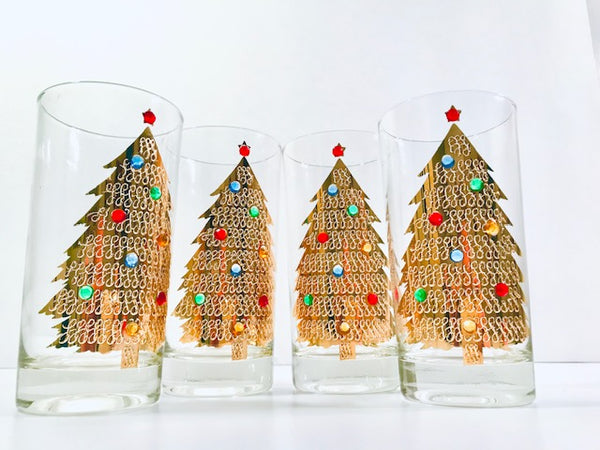 Culver Signed Mid-Century Jeweled Christmas Tree Highball Glasses (Set of 4)