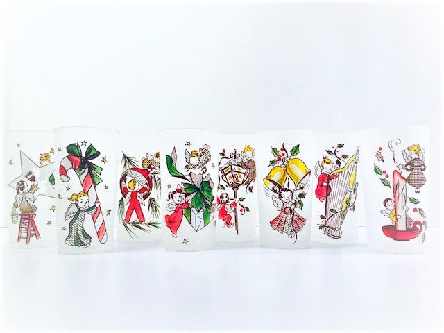 Federal Glass Gay Fad Design Angels Preparing for Christmas (Set of 8)