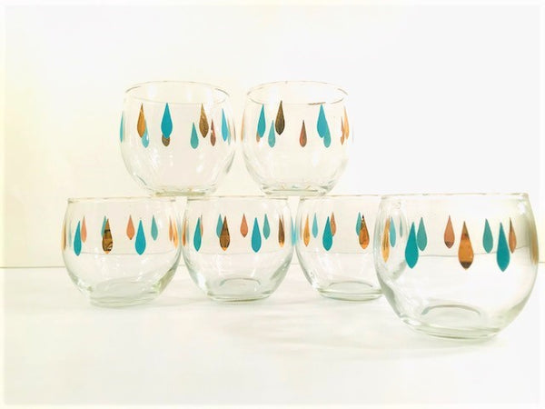 Federal Glass Mid-Century Turquoise and Gold Roly Poly Glasses (Set of 6)