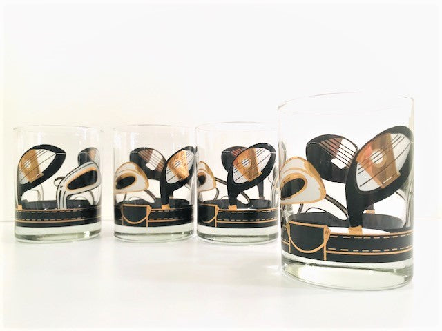 Vintage Black and Gold Golf Club Double Old Fashion Glasses (Set of 4)