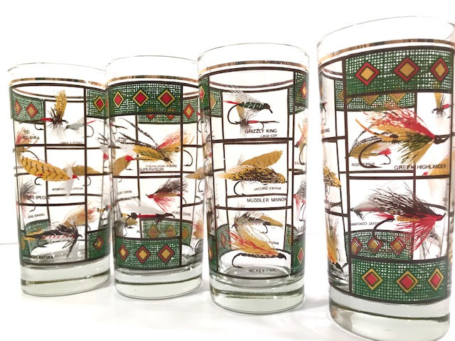 Vintage Fly Fishing Lure Highball Glasses (Set of 4)