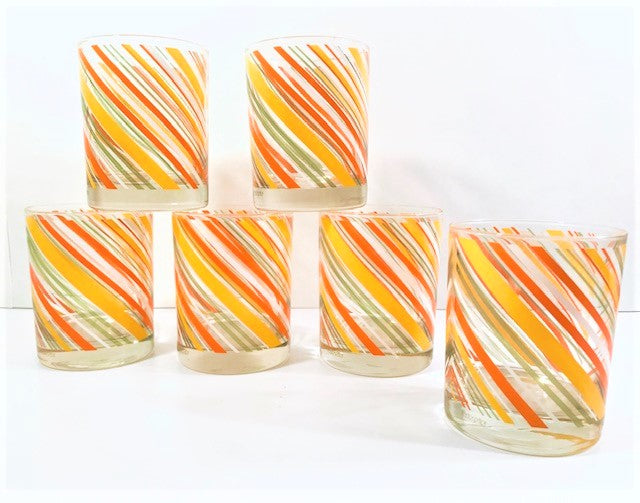 Tastesetter Signed Yellow, Orange and Green Retro Striped Double Old Fashion Glasses (Set of 6)