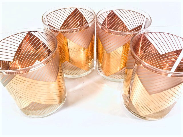Culver Signed Mid-Century Chevron Double Old Fashion Glasses (Set of 4)