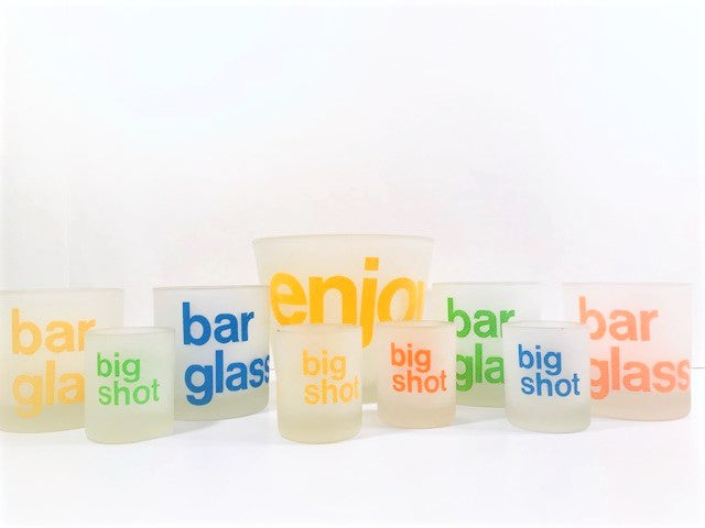 Morgan Signed Retro Frosted 9-Piece Bar Set