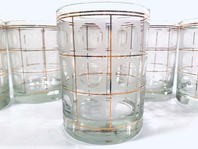 Culver Signed Gold Square with Frosted Circle Double Old Fashion Glasses (Set of 6)