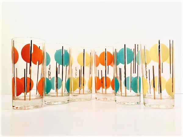 Fred Press Signed Panton Style Atomic Dots Highball Glasses (Set of 6)