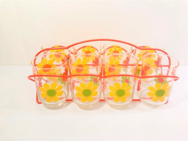 Libbey Mid-Century Retro Flower Power 9 Piece Bar Set