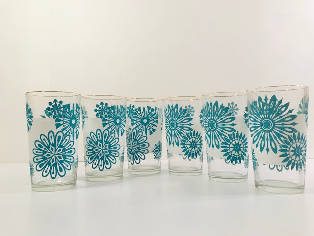 Mid-Century Atomic Turquoise Flower and Frosted White 7-Piece Cocktail Set