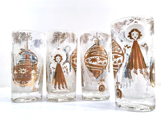 Mid-Century Christmas Angels Highball Glasses (Set of 4)