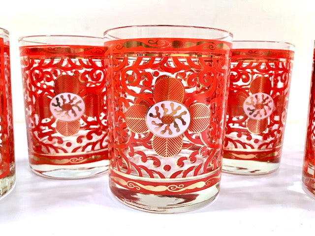 Georges Briard Signed Imperial Brocade Double Old Fashion Glasses (Set of 6)
