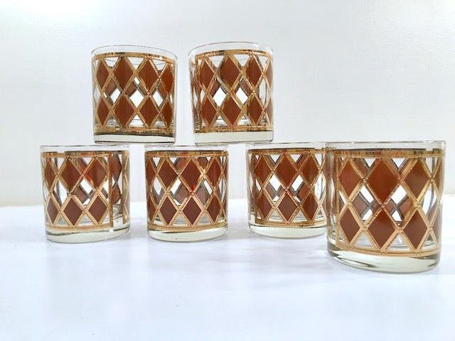 Georges Briard Signed Mid-Century Golden Diamond Glasses (Set of 6)