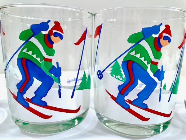 Georges Briard Signed Mid-Century Skier Double Old Fashion Glasses (Set of 4)