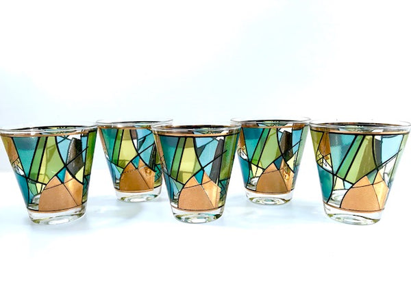 Ned Harris Signed Mid-Century Blue and Green Abstract Double Old Fashion Glasses (Set of 5)