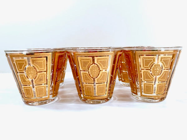Culver Signed Mid-Century Gold Encrusted Glasses (Set of 6)