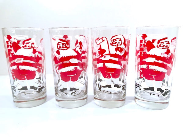 Mid-Century Santa Highball Glasses (Set of 4)