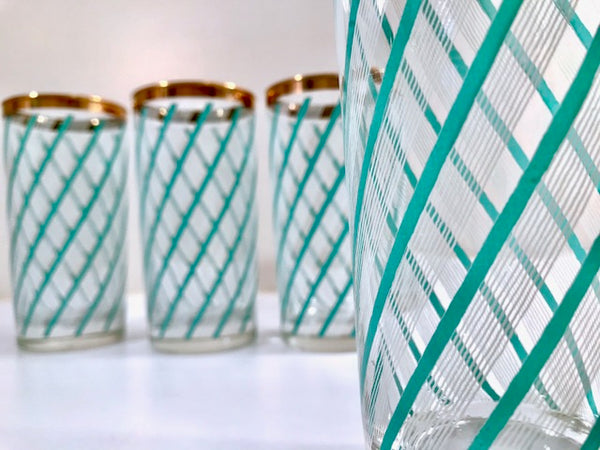 Retro Turquoise and White Stripe Highball Glasses (Set of 4)