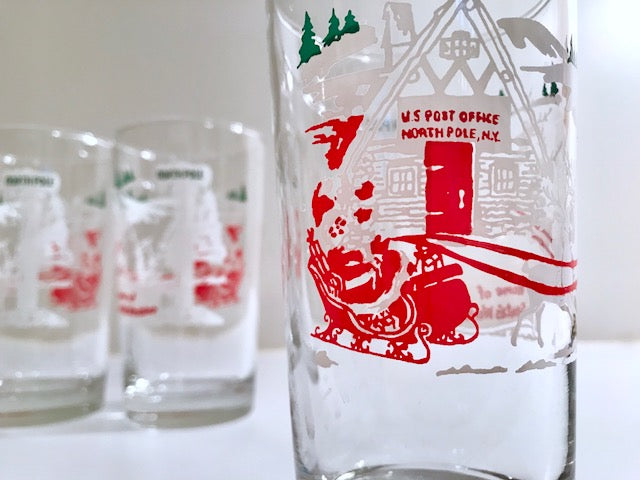 Libbey Mid-Century Santa & Reindeer At The North Pole Glasses (Set of 4)