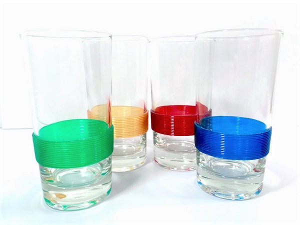 Federal Glass Art Deco Ribbed Rainbow Band Highball Glasses (Set of 4)