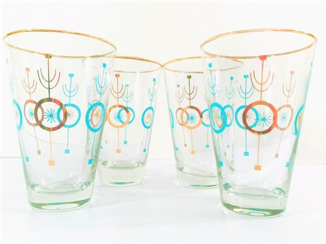 Libbey Atomic Turquoise and 22-Karat Gold Glasses (Set of 4)