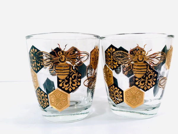 Libbey Black and 22 Karat Gold Bee and Honeycomb Glasses (Set of 2)