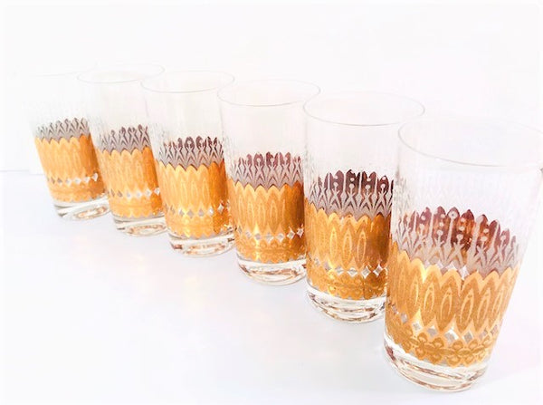 Pasinski Signed Mid-Century 22-Karat Gold and Filigree Highball Glasses (Set of 6)