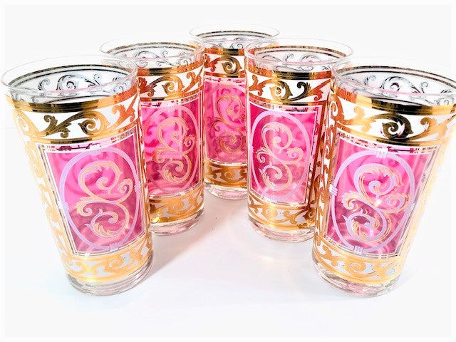 Fred Press Signed Pink and Gold Hollywood Regency Glasses (Set of 5)