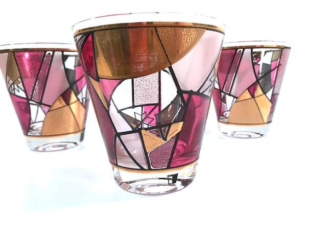 Ned Harris Signed Mid-Century Pink and Purple Abstract Double Old Fashion Glasses (Set of 3)