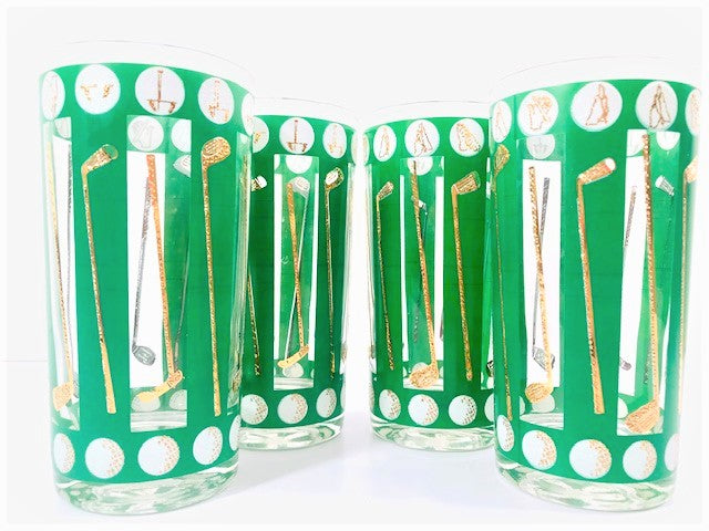 Libbey Gold and Green Golf Highball Glasses (Set of 4)