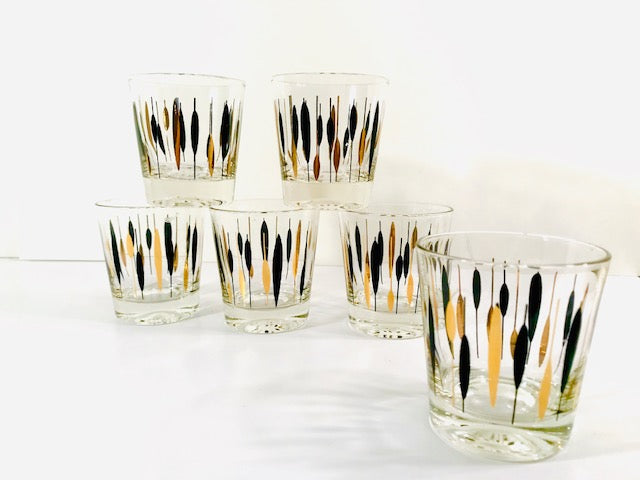 Mid-Century Gold and Black Cattail Glasses (Set of 6)