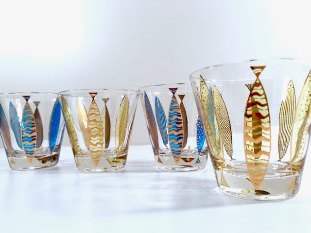 Fred Press Signed Mid-Century Fish Old Fashion Glasses (Set of 4)