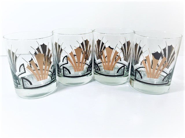 Art Deco Styled Double Old Fashion Glasses (Set of 4)