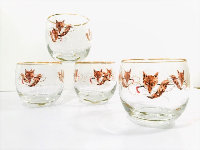 Federal Glass Mid-Century Fox Hunt Roly Poly Glasses (Set of 4)