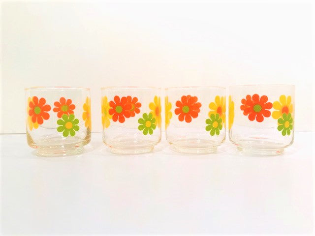 Libbey Mid-Century Retro Flower Power Glasses (Set of 4)