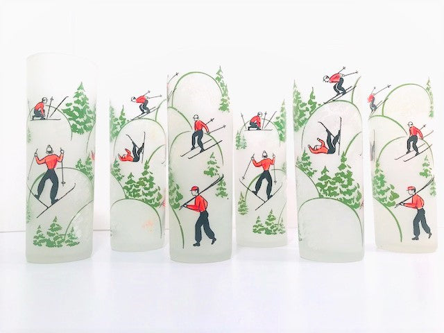 Federal Glass Mid-Century Downhill Skiing Tall Collins Glasses (Set of 6)